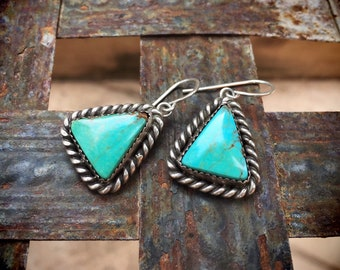Simple Vintage Triangle Shaped Turquoise Earrings for Women, Signed Navajo Native American Indian Jewelry