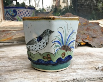 Small Pottery Planter with Bird Design by Mexican El Palomar Studio, Gift for Bird Lover or Gardener