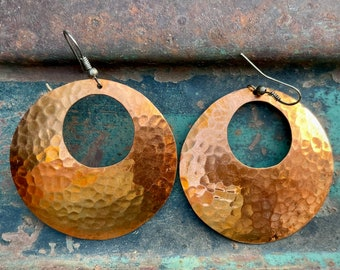Big Hammered Copper Hoop Earrings by Navajo Doug Etsitty, Native American Indian Jewelry for Her