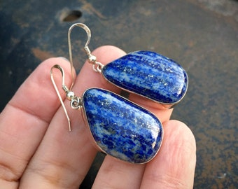 Navajo Peter Johnson Lapis Lazuli Dangle Earrings for Women, Native American Indian Jewelry