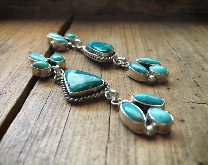 Featured listing image: Turquoise Cluster Earrings for Women Signed Navajo Jewelry, Native American Indian Jewelry