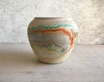 Vintage Nemadji Pottery Clay Vase in Green and Orange Swirl, Mid Century Route 66 Souvenir Ceramics