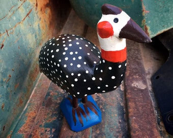 New Mexican Folk Art Carved and Painted Guinea Hen, Southwestern Decor Wood Carving, Primitive Art
