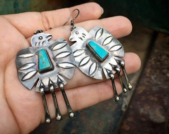 Navajo Vernon Begay Sterling Silver Thunderbird Earrings with Turquoise, Native American Jewelry