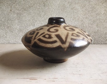 Vintage Brown and White Pottery Vase from Peru Southwestern Decor, Housewarming Gift for Neighbors, Shelf Display