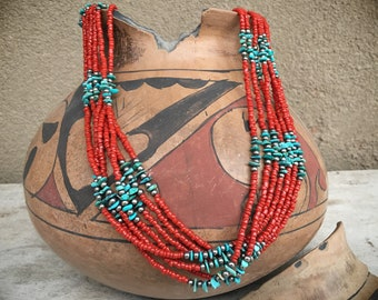 Vintage 7-Strand Coral Bead and Turquoise Chip Necklace Southwestern Multi Strand Ethnic Jewelry