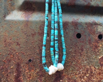 Old Pawn Turquoise Disc Heishi with White Shell Jocla Pendant for Necklace, Santo Domingo Jacla