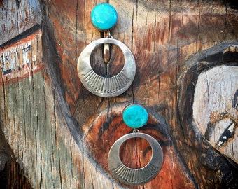 Vintage Turquoise Hoop Earrings for Women, Navajo Native American Indian Sterling Silver Earrings