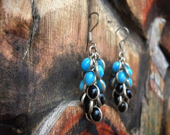 Vintage Sterling Silver with Blue and Black Glass Grape Cluster Earrings for Women, Boho Jewelry, Cha Cha Earrings