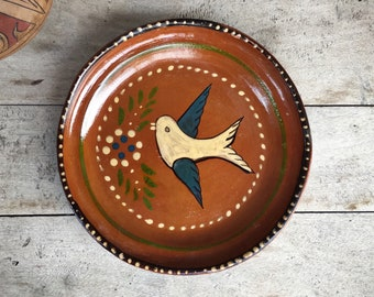 Mexican Pottery Plate Bird Decor Capula Michoacan Redware Mexican Decor, Folk Art Plate