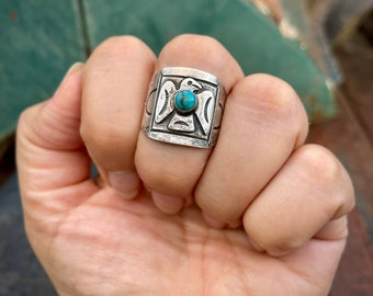 Fred Harvey Era Vintage Turquoise Ring Thunderbird Size 8.5 (Old Repair), Southwestern Jewelry Girlfriend, Native American Style Old Pawn