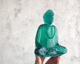 Vintage Resin Green Buddha Figurine, 1990s Apartment Decor, Sitting Buddha Statue, Zen Altar