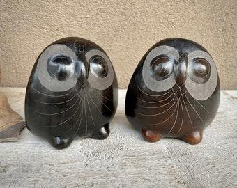 Pair of Barro Negro Pottery Owls Signed V. Silva, Oaxaca Mexico Blackware, Folk Art, Primitive Home