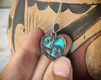 Vintage Heart Pendant Necklace with Marcasite and Turquoise on Fine Sterling Silver Chain
