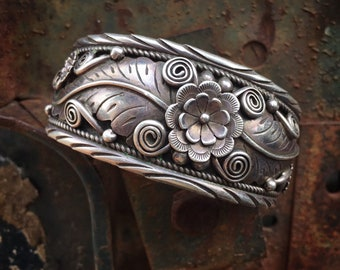 Large Signed Navajo Sterling Silver Cuff Bracelet for Women or Men, Traditional Native American Indian Jewelry