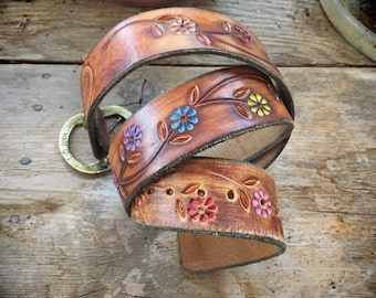 Size 30-38 Vintage Tooled Leather Belt with Hand Painted Flowers and Brass Buckle, 1970s Wide Leather Belt