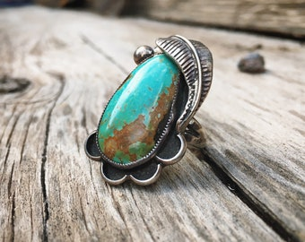1970s Traditional Navajo Turquoise Ring for Women Size 7, Native American Indian Jewelry Old Pawn