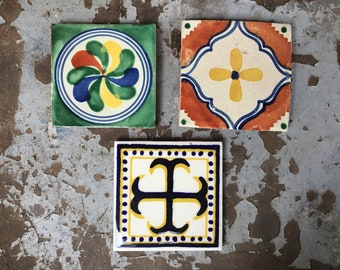 Three Vintage Mexican Ceramic Tiles, Rustic Home Decor, Ceramics and Pottery, Talavera Tile
