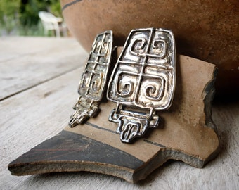 Vintage Artisan Sterling Silver Statement Earrings for Women, 1990s Abstract Designer Jewelry