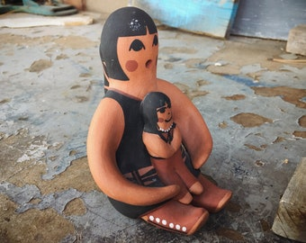 Signed San Felipe Pueblo Storyteller Pottery Seated Mother Daughter, Native America Indian Pottery
