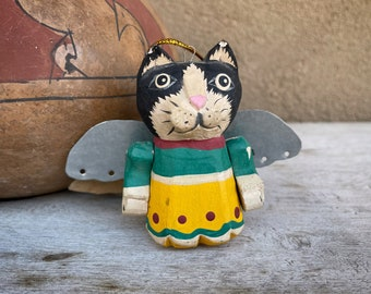 Distressed Bali Folk Art Painted Wood Black and White Cat with Metal Wings Ornament Christmas Tree