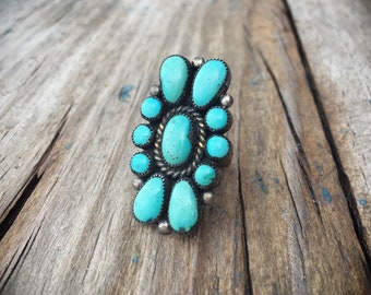 Signed Zuni Real Turquoise Ring for Women, Native American Indian Jewelry, Anniversary Gift