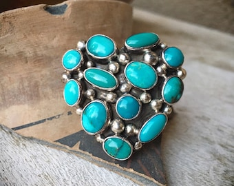 Large Sterling Silver Turquoise Cluster Heart Ring Size 8.5, Native American Indian Jewelry