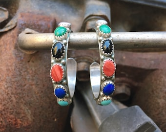 Medium Sized Turquoise Hoop Earrings for Women, Zuni Snake Eye Native American Indian Jewelry