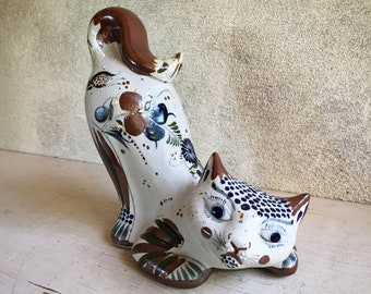 Tonala Pottery Cat Figurine Mexico Folk Art by Master Santana Workshop, Rustic Southwestern Decor