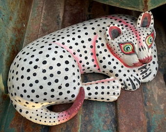 Bali Folk Art Painted Wood White Curled Cat with Black Spots, Gift for Kitty Mom, Feline Lovers