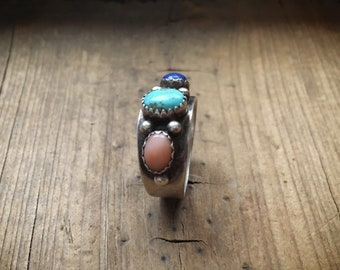 Vintage Turquoise Ring for Women Size 9 with Lapis Lazuil Pink Mother of Pearl, Southwestern Jewelry