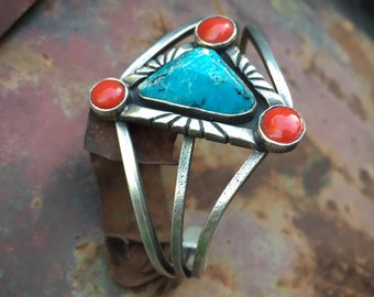 Vintage Three Wire Shank Turquoise and Coral Silver Bracelet for Women, Native American Indian Jewelry