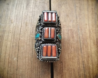 Large Vintage Tribal Ring for Women Size 7.75 Coral Turquoise German Silver, Tibetan Jewelry