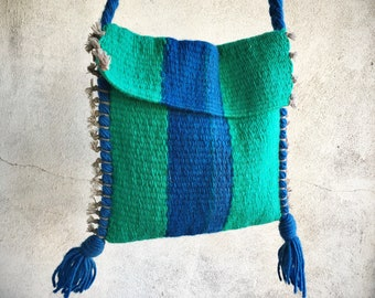 Woven Blanket Purse Blue and Green, Lightweight Hippie Boho Mexican Ethnic Cross Body Stash Bag Tote