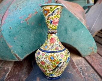 Small Old Painted Enamel Metal Vase Floral Bird Design, Bud Vase Form, Bohemian Home Interior