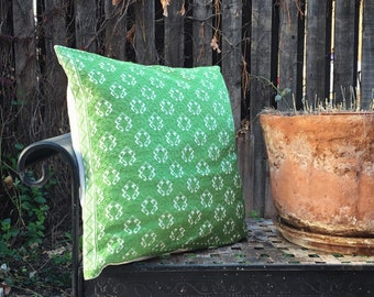 Large Embroidered Pillow Cover Bohemian Decor Green and White, Pillow Case, Throw Pillow