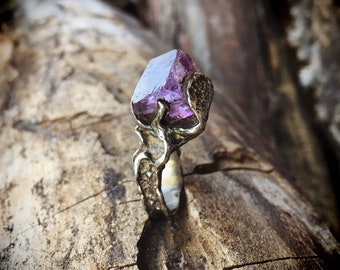 Vintage Raw Amethyst and Sterling Silver Ring Size 5.5, Birthstone Jewelry for February Birthday Gift for Women