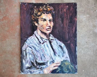 16x20 Original Oil Painting of Young Man with Curly Hair, Vintage Portrait Palette Knife Art