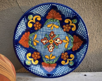 "1980s Heavy 11.5"" Mexican Talavera Plate Wall Hanging Blue White, Rustic Southwestern Home Decor"