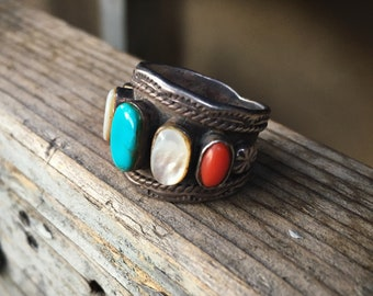 Multistone Turquoise Ring for Women Sterling Silver Cigar Band Ring Size 7.75, Native American Indian