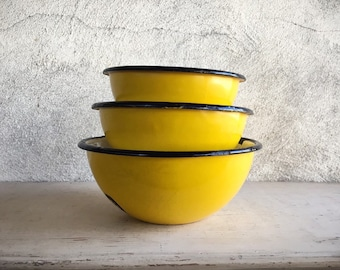 Set of Three Vintage Yellow Enamelware Bowls Made in Poland, Mid Century Kitchenware