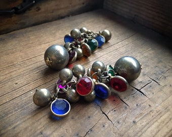 Vintage Costume Jewelry Earrings for Women Silver Tone Balls with Colorful Faux Rhinestones