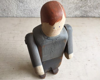 1986 Handmade Wooden Folk Art Figure of Boy or Man by Wolf Creek, Collectible Primitive Wooden Doll