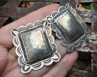 Vintage Navajo Sterling Silver Concho Post Earrings, Native American Indian Jewelry