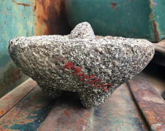 Vintage Mexican Grinding Stone Bowl or Metate Made of Lava Rock, Rustic Mexican Home Decor