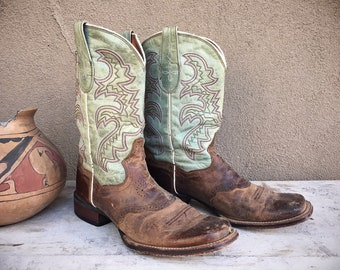 Vintage Cowboy Boot for Woman Size 8.5M Dan Post Two Tone Brown Light Aqua Leather Square Toe Cowgirl Boots