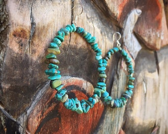 Large Turquoise Nugget Hoop Earrings for Women Native American Indian Turquoise Jewelry
