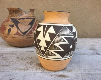 Vintage Native American Pottery Vase by Isleta Pueblo Stella Teller, Southwestern Decor
