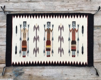 2.5 Ft x 1.6 Ft Navajo Three-Figure Yei Pictorial Rug Wall Hanging, Native American Indian Art