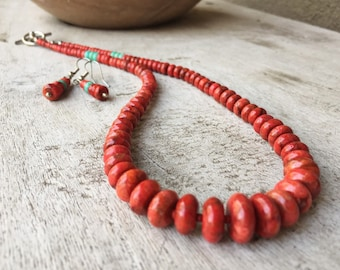Vintage Red Spiny Oyster Bead Necklace and Earring Set with Turquoise Accent, Shell Jewelry Set